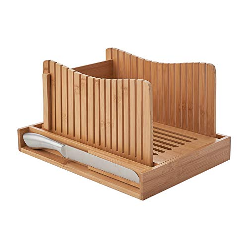 COMELLOW Bamboo Bread Slicer with 3 Different Size Slices, Wooden Bread Slicer with Crumb Tray and...