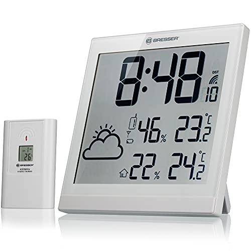 Bresser Wanduhr Wetterstation Funk mit Außensensor TemeoTrend JC, DCF Funkuhr, großer Anzeige für Temperatur und Luftfeuchtigkeit für Tisch oder Wand inkl. Wettertrendanzeige und Außensensor, weiß