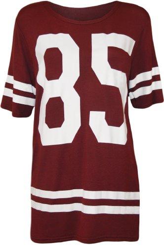WearAll - Damen '85' Druck Kurzarm Baseball Trikot T-Shirt Top - Wein - 40-42