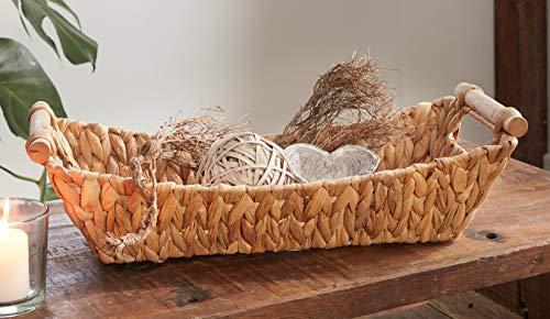 Schale aus Wasserhyazinthe, stabil geflochten, rechteckig, Deko Natur Obst-Korb für Tisch, Büffet, Küche & Laden