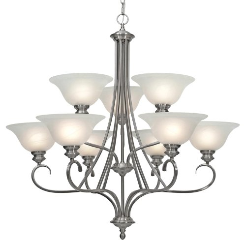Golden Lighting 6005-9 PW Lancaster Chandelier - Large, 36-Inch W by 36-Inch H, Pewter