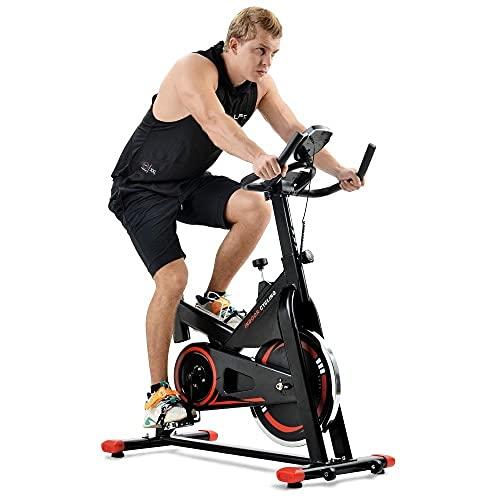 Cardio Training - Cyclette con console LCD e volano da 10 kg, sedile e manubrio regolabili, unisex, peso utente 120 kg-1035 x 540 x 1180 mm, rosso