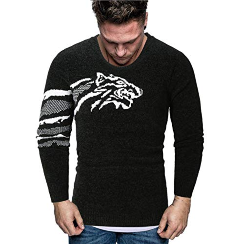 Men Splicing Printed Jumpers Pullover Autumn Winter Casual Round Neck Long Sleeve Knitting Sweaters Tops Blouse M-2XL