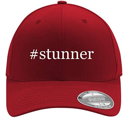#Stunner - Adult Men's Hashtag Flexfit Baseball Hat Cap, Red, Small/Medium