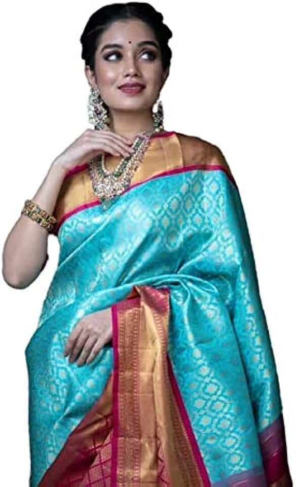 Indian CRINGO TEX Women's Kanchipuram Silk Saree with Blouse Piece (CT-169_Sky) Saree
