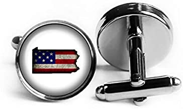 United States USA Flag Silhouette Pennsylvania PA Rhodium Plated Silver Cufflinks