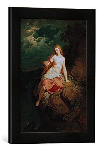Gerahmtes Bild von Philipp Foltz Die Loreley, Kunstdruck im hochwertigen handgefertigten Bilder-Rahmen, 30x40 cm, Schwarz matt