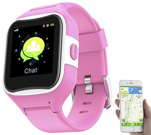 TrackerID Kinderuhr: Kinder-Smartwatch mit GPS-/GSM-/WiFi-Tracking, SOS-Taste, rosa, IP65 (Kinder Smartuhr)