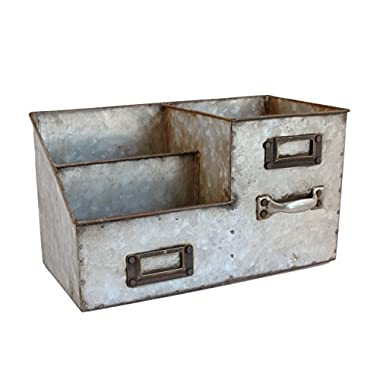 Industrial Stainless Steel Desk Organizer 3 Bin Storage
