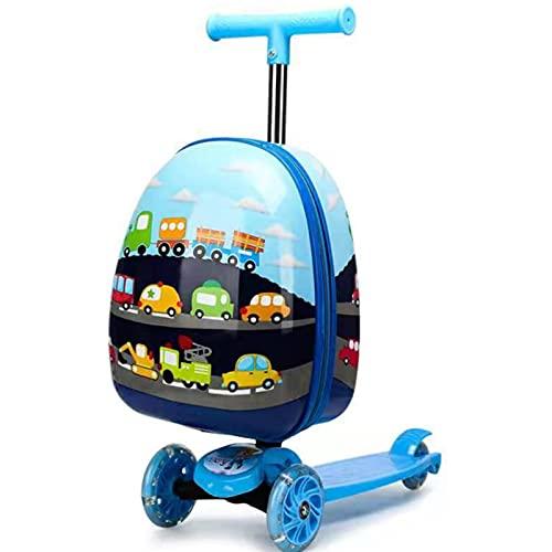 ONE-KJWH Trolley da Skateboard per Bambini, Valigie per Le Vacanze Scooter da Viaggio Multifunzione Valigia da 15 Pollici con Scooter da Cabina con Ruote Universali con Combo Trolley (27 * 60 Cm),Blu