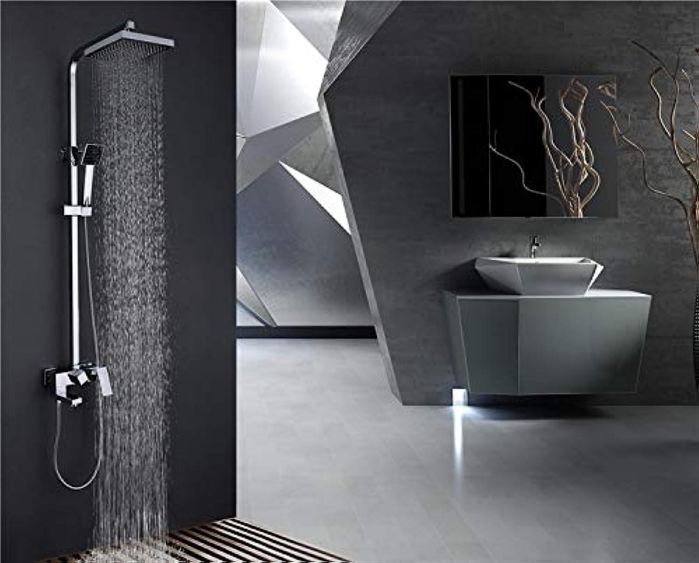 Chrom Massivem Messing Wandmontage Badezimmer quadratische Dusche Mischbatterie Kalt- und Warmwasserhahn Mischventil Duschset