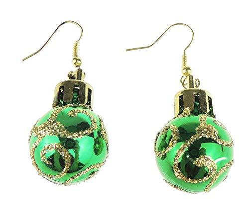 Glitter Kleur Feestelijke Leuke Nieuwigheid Kerstmis Ornament Bauble Drop Oorbellen Eén maat Groen