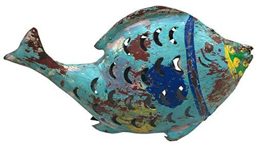 bellarte dekorative ausgefallene Metallfigur Fisch als Windlicht zum Stellen 3 mögliche Größen (Metall, groß 55 x 14 x 32 cm)