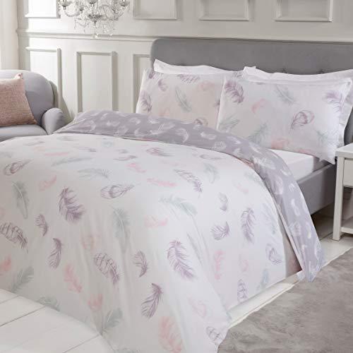 Sleepdown Feather Print Multi Colour Reversible Soft Easy Care Duvet Cover Quilt Bedding Set with Pillowcases - Double (200cm x 200cm)