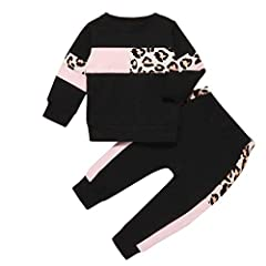 Material:The baby girl pants set was made of cozy cotton fabric,very gentle to your little princess's skin Design:Cute baby girl pullover,unique leopard stitching desig,nexquisite workmanship, pink leopard stitching, black leopard stitching, scarlet ...