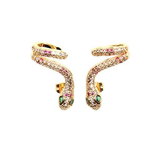 Exquisitos aretes de serpentina de circonita cúbica con incrustaciones de apm, mini aretes, aretes de serpientes brillantes para mujeres