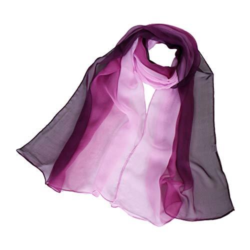 KAVINGKALY Mischung Ombre längliche Seidenschals weiche Mode leichte Schal lange Wickelschals (lila und rosa)
