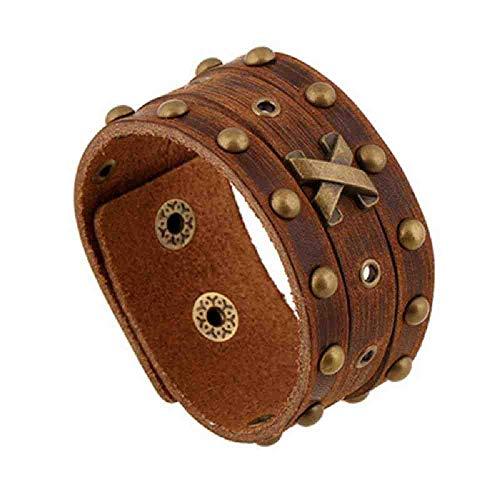 NJSDDB Armband voor mannen, echt leer, punk gevlochten armband, rok, leer, wikkelarmband, handgemaakte sieraden voor vrouwen