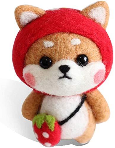 SHANFAA Erdbeer-Shiba-Inu-Nadel Nadelfilz für Anfänger, Nadelfilz-Starter-Kit mit Filzwerkzeugen, Anleitungen, Wollfilzzubehör, Geschenken zum Kindertag
