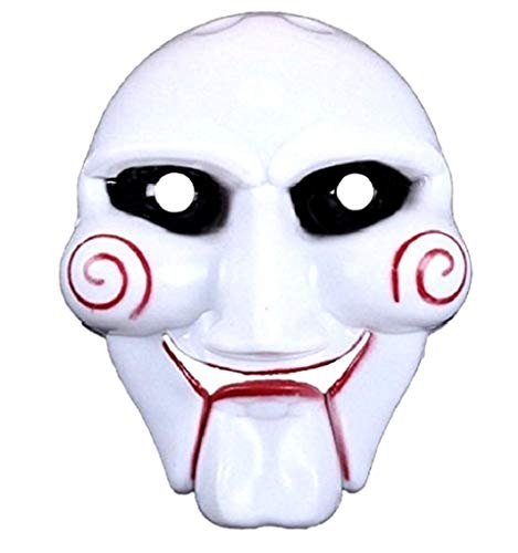 EVRYLON Maschera Enigmista Saw Halloween Uomo Ragazzo Assassino Colore Bianco dal Film Horror Giochi E Accessori Cosplay per Travestimenti E Costumi Carnevale ( Taglia Unica )