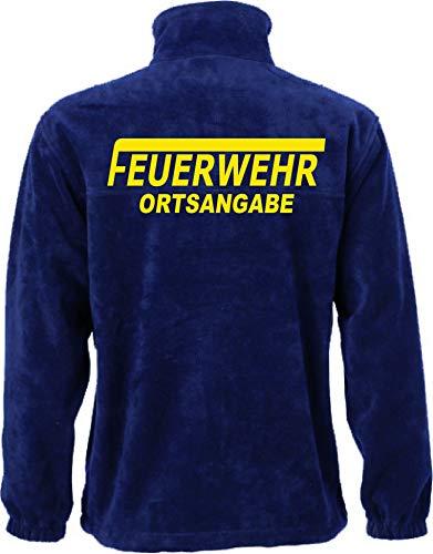 Shirt-ideen.com Feuerwehr Fleece-Jacke mit Aufdruck in Neongelb oder weiß (XXXXL, Neongelb)