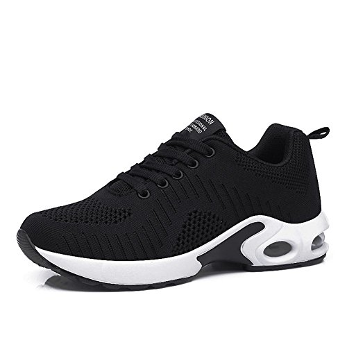 FLARUT Running Shoes Womens Lightweight Fashion Soprt Sneakers Casual Walking Athletic Non Slip(Black, EU41)