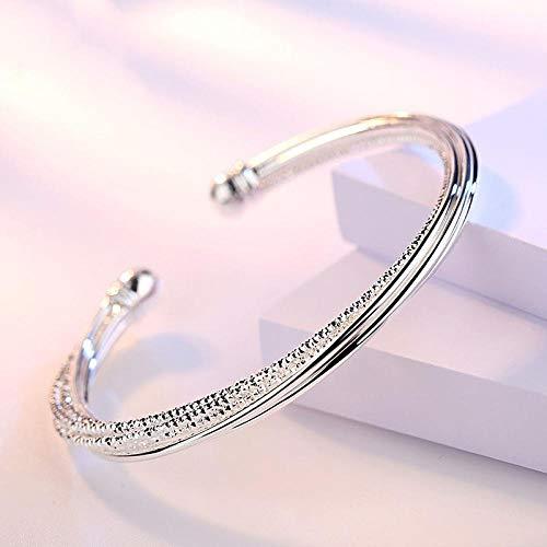HNHM Pulseras y brazaletes de Plata de Ley 925 para Fiesta para Mujer, Accesorios de Boda a la Moda, Pulsera Creativa, Regalos-Plata