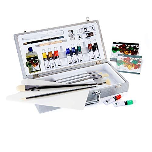 Royal & Langnickel 27pc Zen Oil Box Set, Includes: Oil Paints, Brushes, Palette, Wooden Case, Paper Pads & More