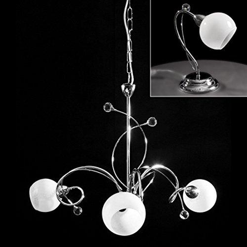 Kit lampadario a sospensione + 2 abat jour cromate con cristallo moderno per camera da letto