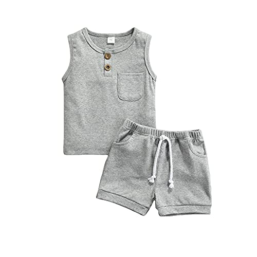 Baby Toddler Boy 2Pcs Summer Outfits Solid Color Cotton Tank Tops with Pocket and Drawstring Shorts Clothing Set (Z Grey , 18-24 Months )