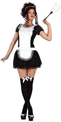 Atosa 22925 - Dienstmeisje kostuum, maat M-L, zwart/wit