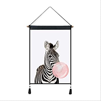 Zebra Bubble Gum Wall Hanging Paintings Animal Abstract Picture Hanger Artwork Print Posters with Scroll Frame Gifts Wall Decoration for Living Room Bedroom Office 18x26 inch