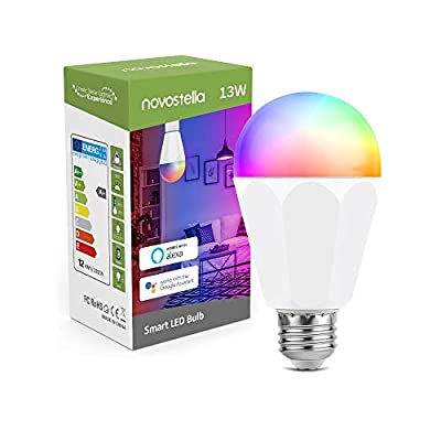 Novostella 13W 1300LM Smart LED Light Bulbs, WiFi RGBCW 2700K-6500K Dimmable Multicolor Bulb, A19 E26, 120W Equivalent Color Changing Bulb, No Hub Required, Compatible with Alexa, Google Home