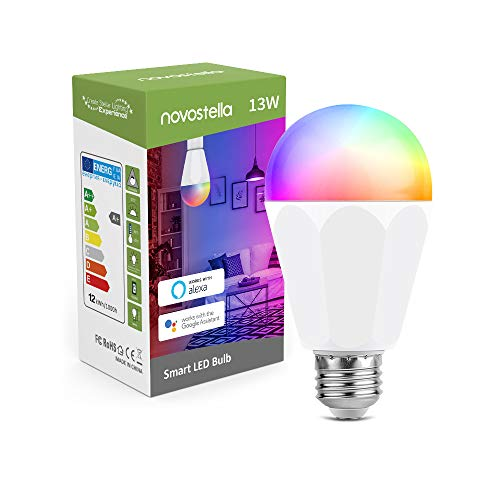 13W 1300LM Lampadina Alexa Smart LED E27, Novostella Lampada Wifi Luci Intelligente Dimmerabile, RGBCW +Tunable White (2700-6500K) Compatibili con Google Home