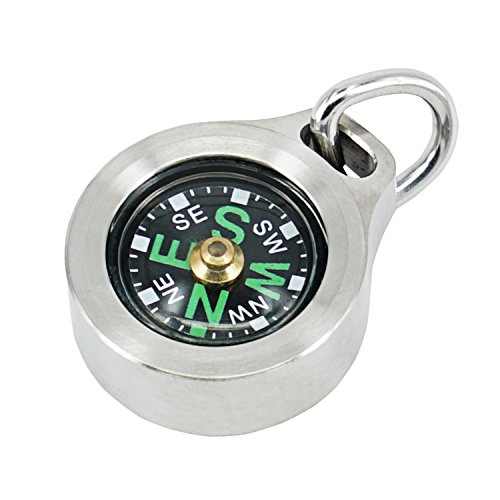MecArmy CMP Titanium/Brass EDC Compass, Teardrop Shaped design with Exquisite engrave, Fluorescence glow in the dark Max runtime of 6 hours IPX5 waterproof Free beaded chain worn as pendant (Titanium)