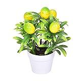ASSR Árbol de limón artificial, mini árbol de limón en maceta, hecho a mano, con maceta, árbol de frutas falsas en maceta, pequeñas plantas de eucalipto, bonsái de plástico para decoración del hogar