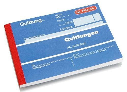 Herlitz 7876147 Quittungsblock A6 402 2x40 Blatt, selbstdurchschreibend (4er Pack)