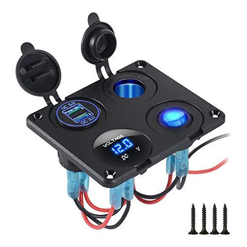 4 in 1 Ladegerät-Steckdosenleiste mit QC 3.0 Dual USB Autoladegerät,LED-Digitalvoltmeter,Zigarettenanzünder-Splitter,Ein-/Aus-Schalter, Multifunktionsleiste für PKW LKW BOOT und SCHIFFAHRT RV