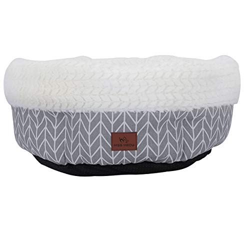 Miss Meow Cat Bed Round and Cave Shape Self Warming Cotton/Faux Suede/Linen...