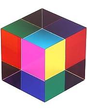 ZhuoChiMall CMY blandningsfärgkub, 50 mm (2 tum) akrylkub prisma, CMYcube för hem- eller kontorsinredning, STEM/STEAM skrivbordsleksaker, vetenskapslärande pedagogisk present för barn