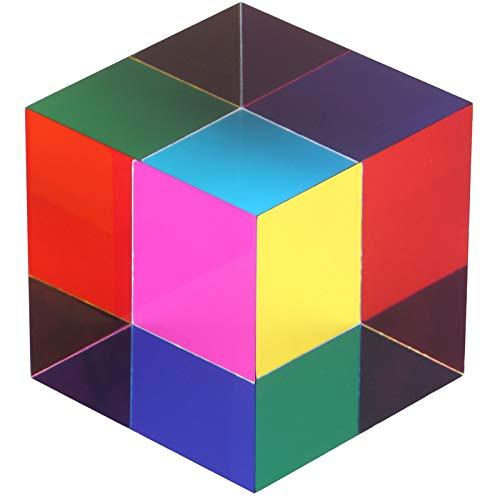 ZhuoChiMall Cubo de Mezcla de Colores CMY, Prisma de Cubo acrílico de 50 mm (2 Pulgadas), Cubo CMY para decoración del hogar u Oficina, Juguetes Stem / Steam, Cubo de Aprendizaje de Ciencias