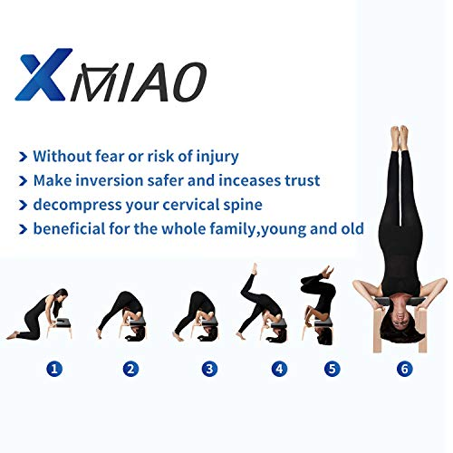 XMIAO Yoga Headstand Bench, Multifunctional Yoga Inversion Chair with Solid Wood Frame,Yoga Headstand Stool Idea for Workout, Fitness and Gym Relieve Fatigue and Body Building (Black)