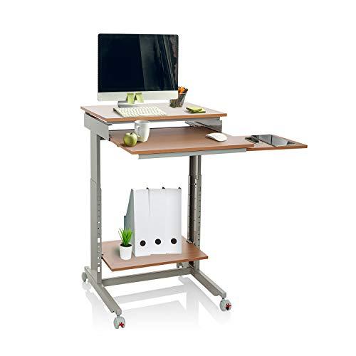 hjh OFFICE 830020 Schreibtisch Workstation Buche/Grau Stehpult Home-Office, höhenverstellbar mit Rollen, Tastaturauszug