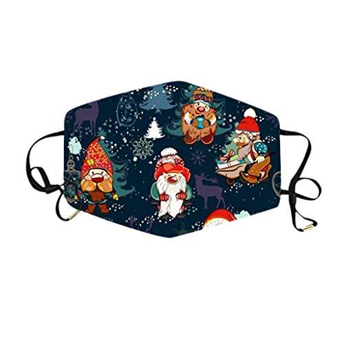 RUITOTP Weihnachten Erwachsene Santa Claus Mund- und Nasenschutz, 3-lagiger staubdichter Einweg-Gesichts-Mund-Abdeckschal für Männer Frauen