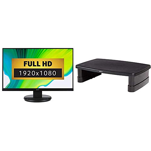 Acer K272HLEbid 27 inch FHD Monitor, Black (VA Panel, 4ms, HDMI, DVI, VGA) & AmazonBasics Adjustable Monitor Stand
