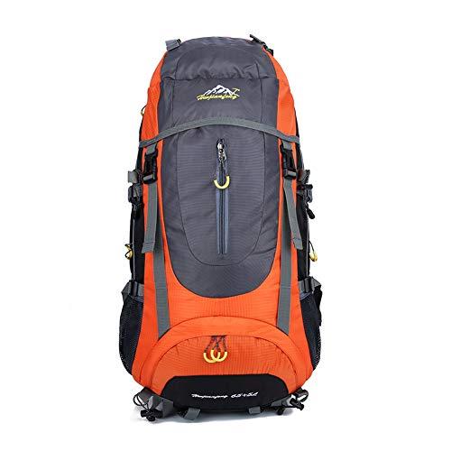 Toolsboy Deporte Camping Mochilas, Senderismo Mochila Impermeable al Aire Libre de Gran Capacidad con Cubierta de Lluvia,Orange