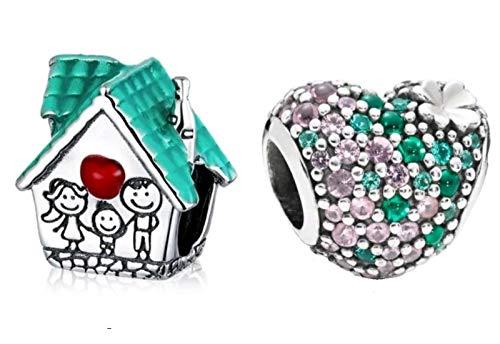 Marni's - 2 Charms Pandora Style Casa Familiar y Corazón con Cristales Plata de Ley | Regalos originales para mujer | Colgantes Compatibles Pulsera Pandora Charm Plata | Regalos para madre