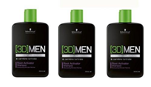 Schwarzkopf 3D Men Aktivierendes Shampoo 3er Pack