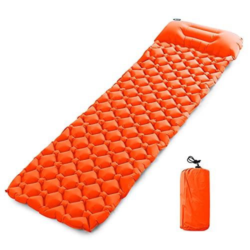KJGHJ Colchoneta de camping al aire libre con almohada ultraligera portátil para 2 personas colchón inflable doble almohadilla para dormir (color C con almohada)