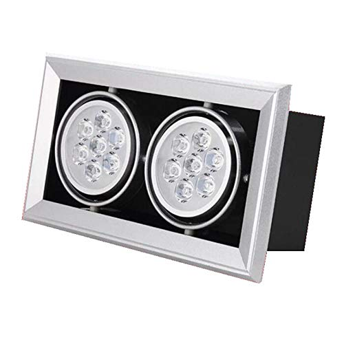 Epissche Foco LED Cuadrado 3w 5w 7w 9w 12w plafón empotrable LED Simple/Doble/Triple Foco empotrable de Rejilla LED-Blanco cálido_Doble Cabezal...